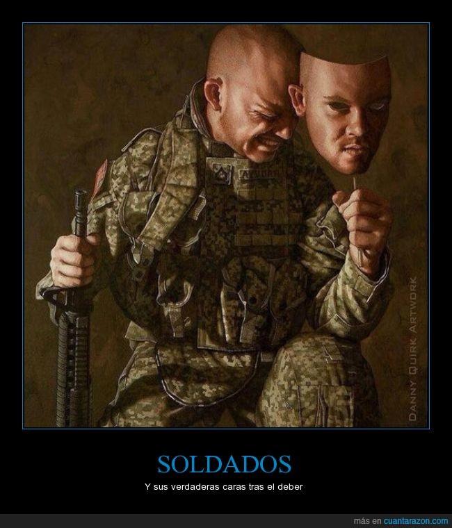 Danny Quirk,guerra,llorar,mascara,soldados,sufrimiento,tristeza