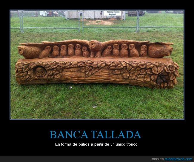 arbol,arte,banca,buhos,madera,tallar,tronco