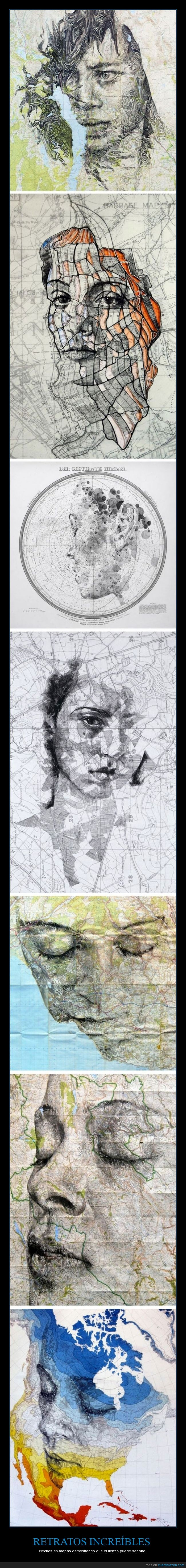 arte,dibujar,Ed Fairburn,mapas,retratos