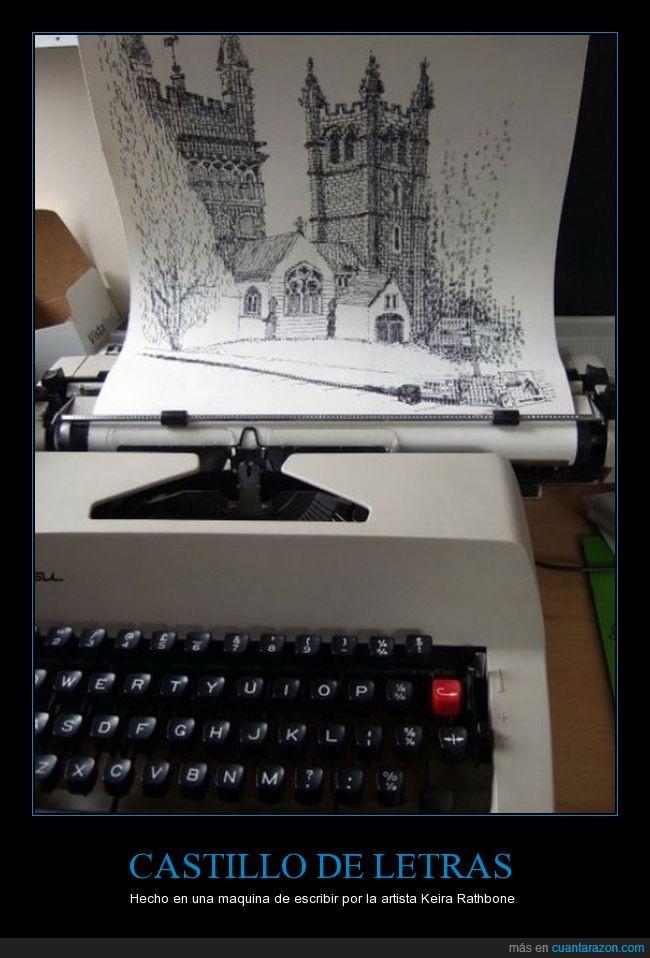 artista,castillo,impresionante,maquina de escribir