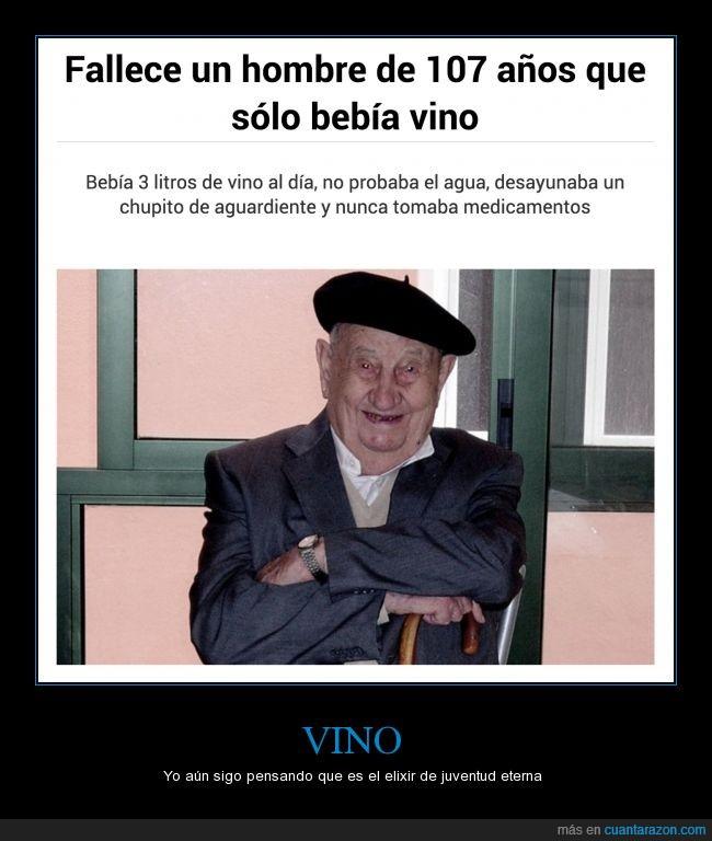 107 años,anciano,beber,bebida,morir,señor,vida eterna,vino