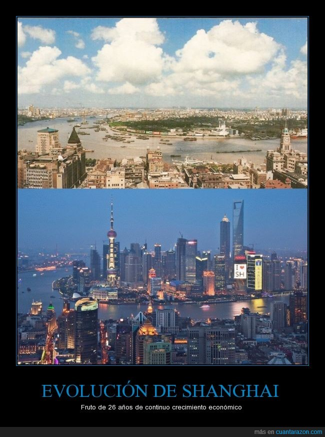 1990,2016,capitalismo,China,ciudad,crecimiento,rascacielos,Shangai,socialismo de estado