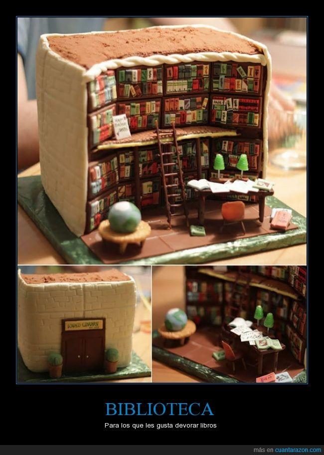 biblioteca,comer,genial,miniatura,pastel