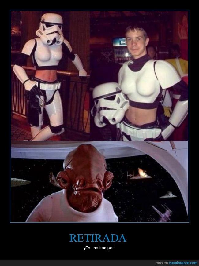 almirante ackbar,armadura,chico,es una trampa,hombre,its a trap (nunca mejor dicho xD),mujer,star wars,stormtrooper