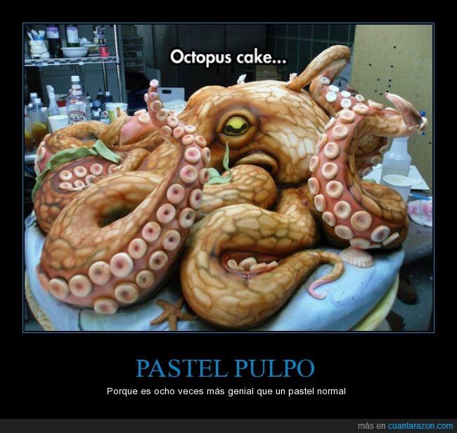 genial,ocho,pastel,pulpo,tarta,tentáculo