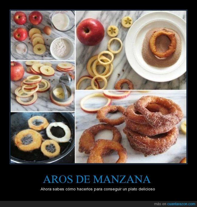 aros,canela,cocinar,frito,genial,manzana,receta,rico