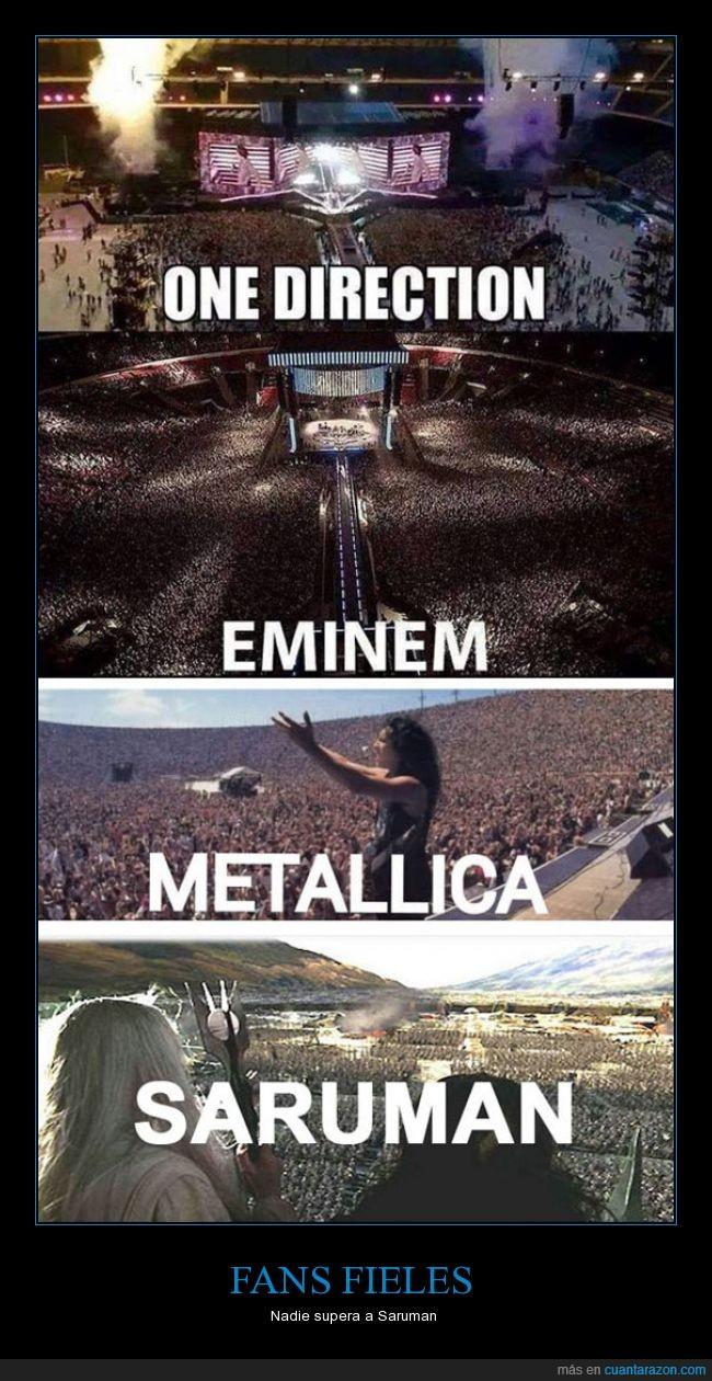 el señor de los anillos,eminem,fanaticos,metallica,musica,one direction,saruman