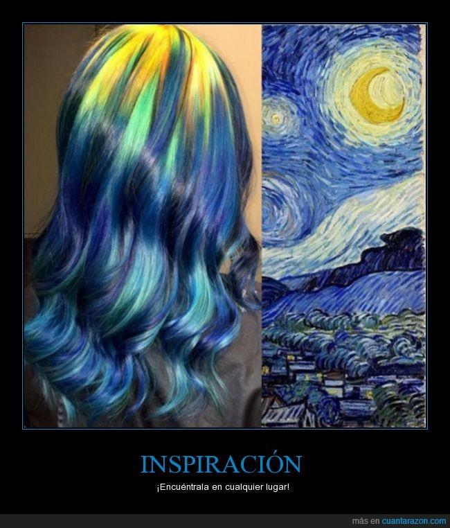 colores,noche estrellada,peinado,pelo,tinte,van googh