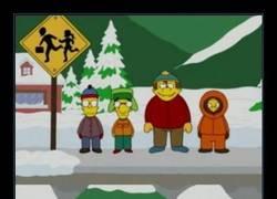 Enlace a Espectacular crossover de South Park con los Simpson