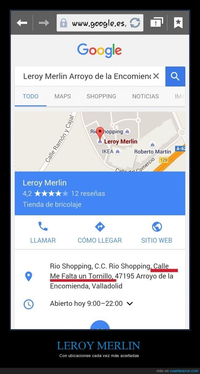 dirección,leroy merlin,me falta un tornillo,valladolid