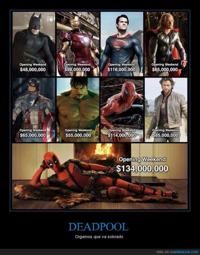 Deadpool,fin de semana,película,primer,recaudación,superhéroe,taquilla