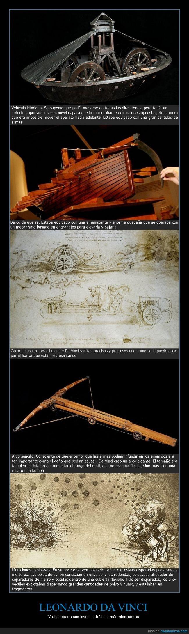 adelantado a su época,Arco,aterradores,Barco de guerra,Carro de asalto,genialidad,imaginación,inventos bélicos,Leonardo Da Vinci,monstruosos,Municiones explosivas,prototipos,Vehículo blindado