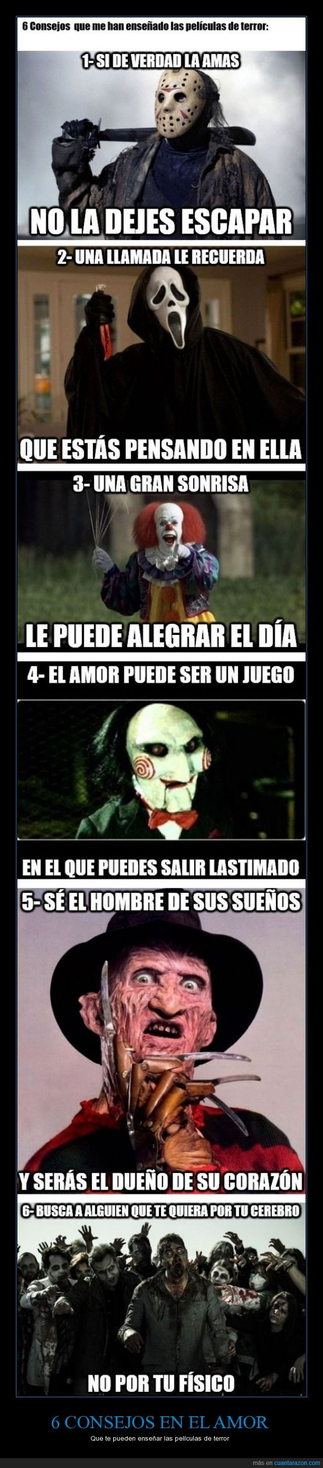 amor,cerebro,Freddy Krueger,It is eso,Jason,Películas,Saw,Scream,sueños,Terror,Zombies