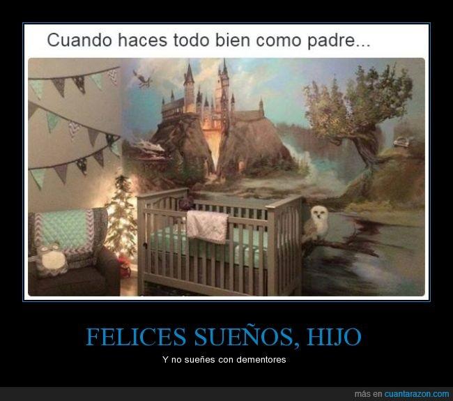 cama,cuna,decoración,habitación,Harry Potter,Hedwig,hija,hijo,lechuza,madre,padre