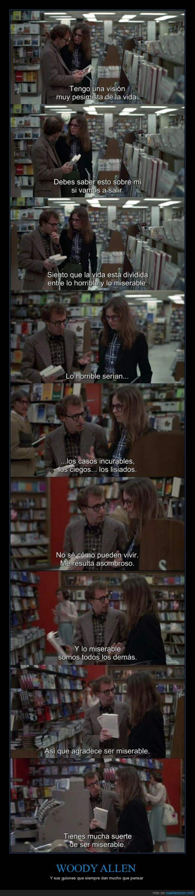 Alvy Singer,Annie Hall,guión,horrible,miserable,pesimismo,pesimista,suerte,Woody Allen