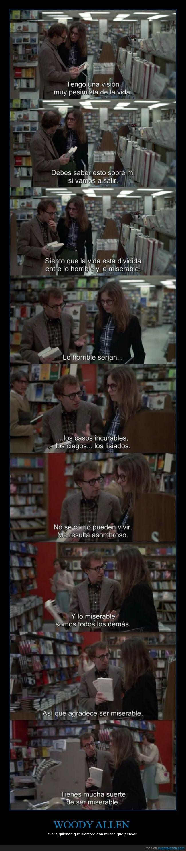 Alvy Singer,Annie Hall,guión,horrible,miserable,pesimismo,pesimista,suerte,Woody Allen