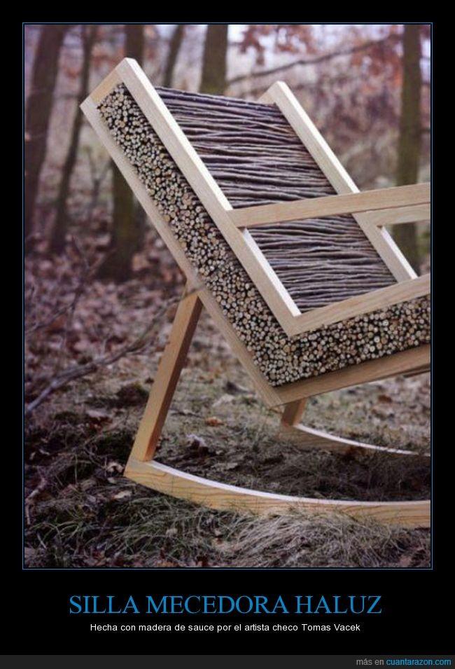 artista,checo,genial,madera,mecedora,ramitas,sauce,silla,tomas vacek