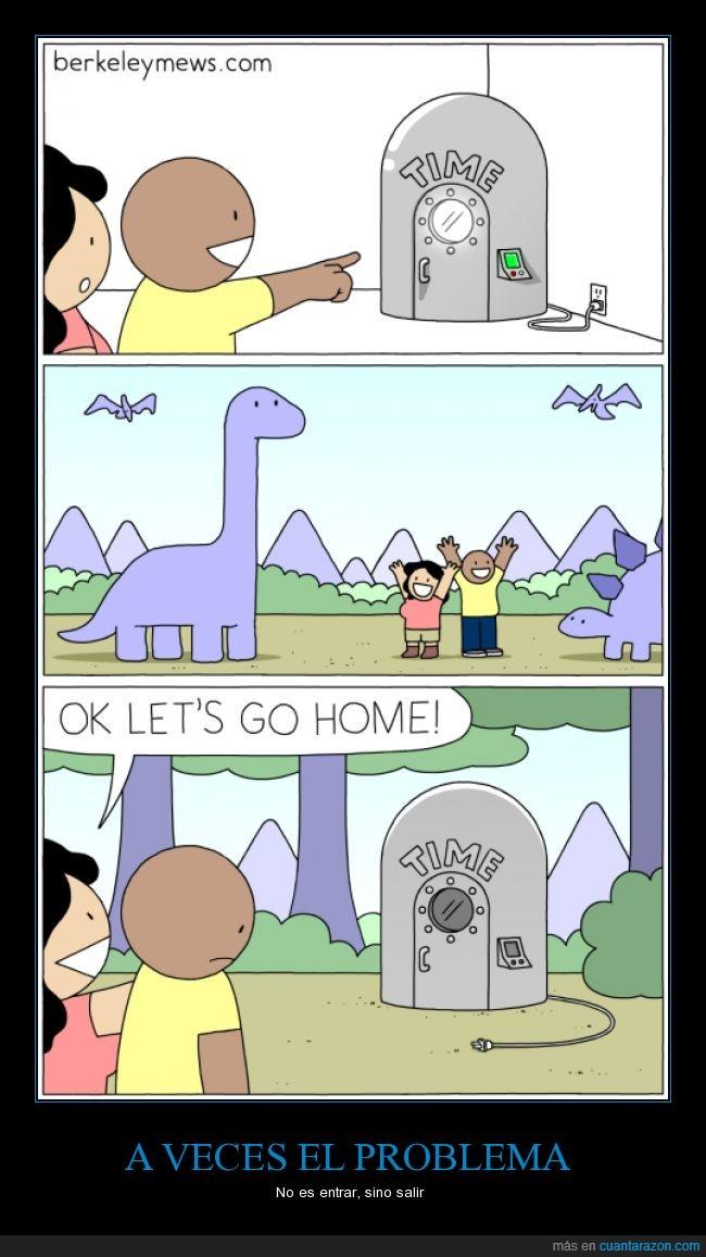 caricatura,cómic,dibujos,dinosaurios,enchufe,humor,luz,maquina del tiempo,pasado,viajar