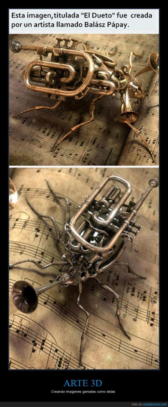 3d,arte,artista,Balazs papay,genial,musica,notas,trompeta