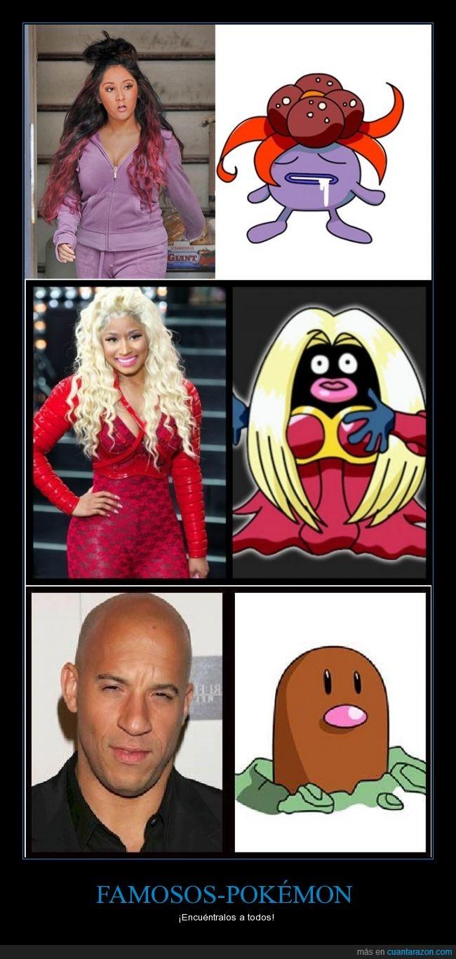 diglett,encontrar,jynx,Nicki Minaj,parecidos razonables,pokémon,Vin Diesel
