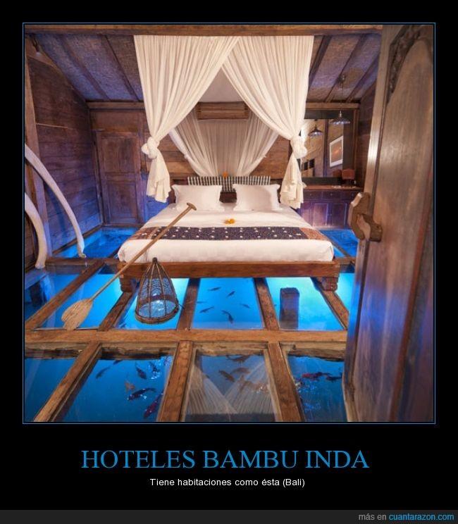agua,bali,cama,creativo,genial,hotel,indonesia,peces