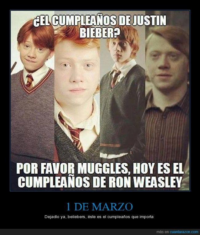 1,cumpleaños,Harry Potter,marzo,mismo día,muggles,Ron Weasley