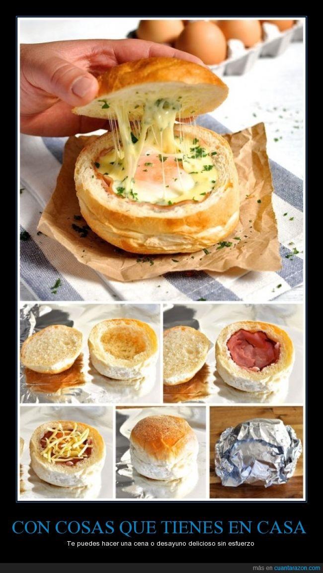 horno,huevo,jamón,pan,panecillo,queso,receta