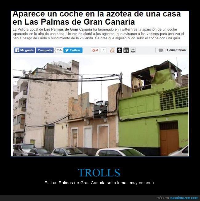 aparcar,Canarias,coche,Las Palmas de Gran Canaria,peligro,techo,tejado,trollear,vecino