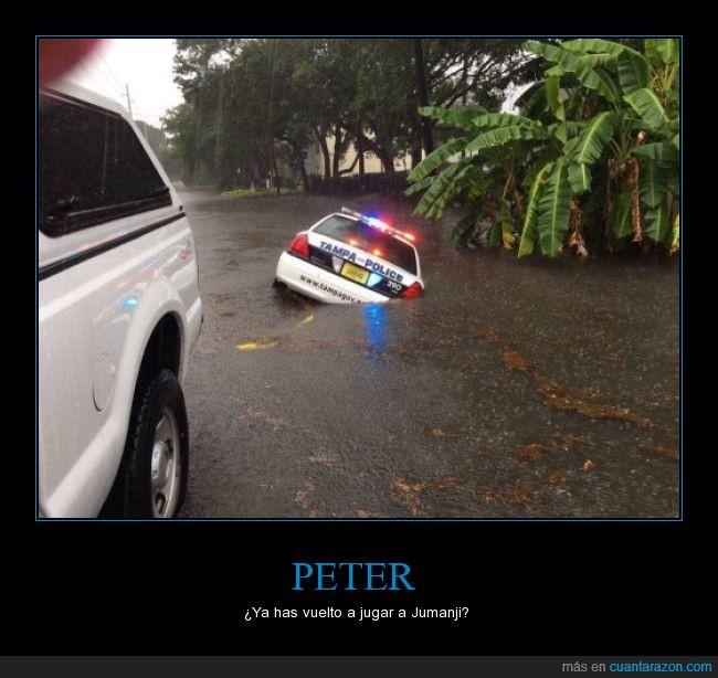 coche,hundir,juego,jumanji,PETER,policía