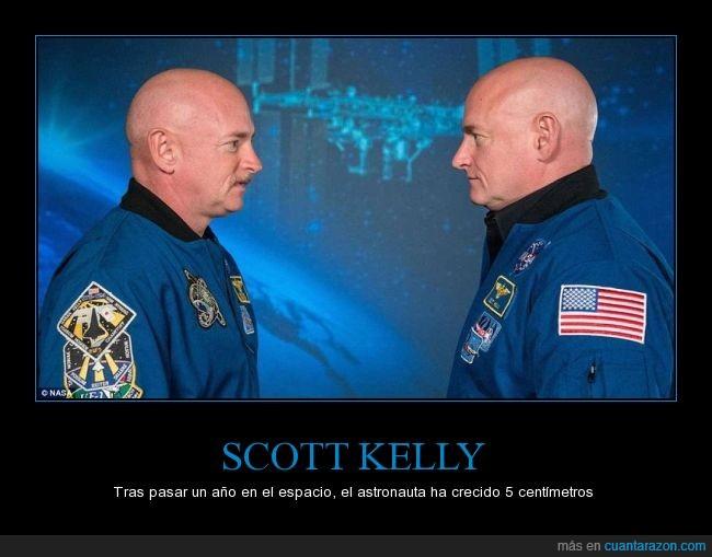 5,astronauta,centimetros,crecer,espacio,estirarse,gravedad,Scott Kelly