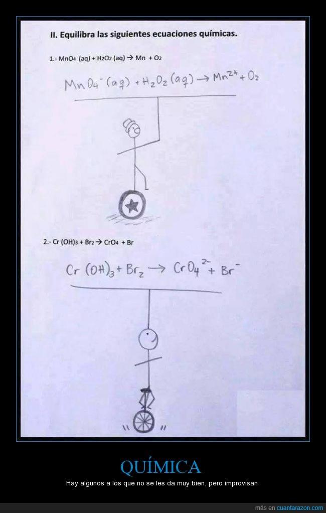 circo,ecuación,equilibrar,equilibrio,examen,monociclo,pelota,quimica