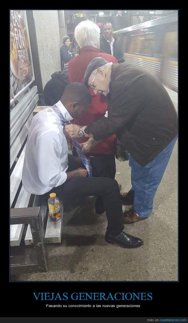 anciano,anudar,ayudar,corbata,generaciones,joven,poderes