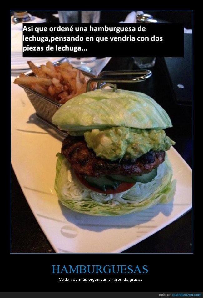 genial,hamburguesa,lechuga,literal,medio vegano¿?,pan,patatas