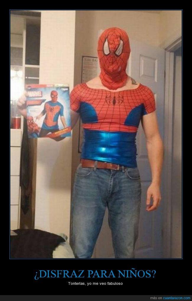 a petar,disfraz,fabuloso,niño,pequeño,Spiderman,tontería
