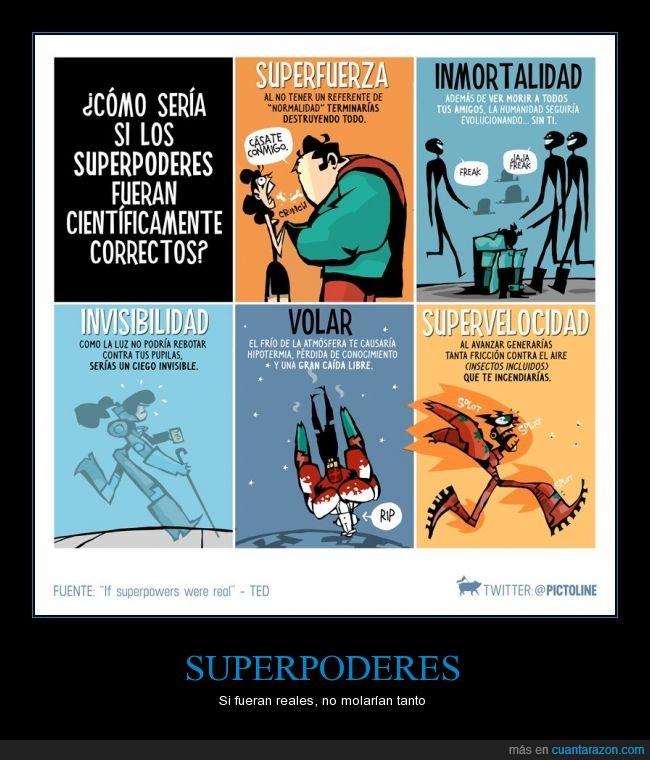ceguera,flash,freak,inmortalidad,invisibilidad,me congelo,me quemo,no veo,rip,superfuerza,superman,superpoder,supervelocidad,volar