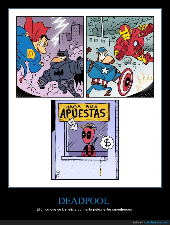 apuestas,Batman vs Superman,Capitán América,Civil War,DC comics,Deadpool,Iron Man,Marvel,películas
