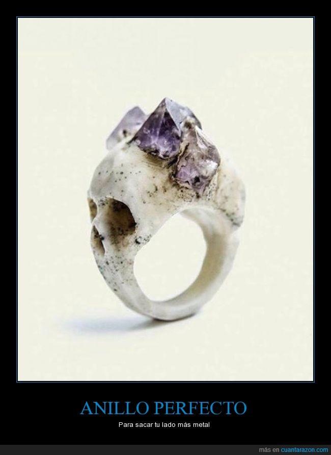 anillo,calavera,genial,metal,pidra,piedra