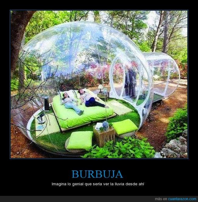 burbuja,cama,campo,genial,hotel,lluvia,moderno,plastico,transparente