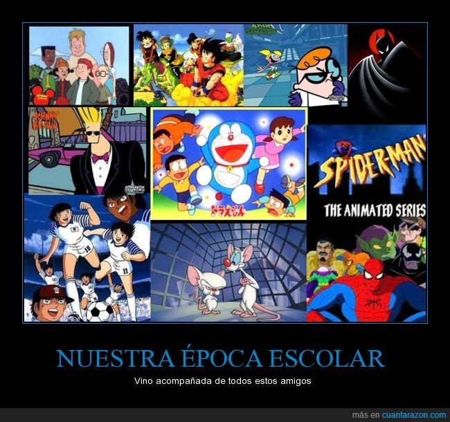 batman,Benji,Doraemon,Dragon Ball,el laboratorio de dexter,epoca,escolar,fuentes,infancia,Johnny Bravo,la banda del patio,niño,nostalgia,Oliver,Pinky y Cerebro,Spiderman,varias