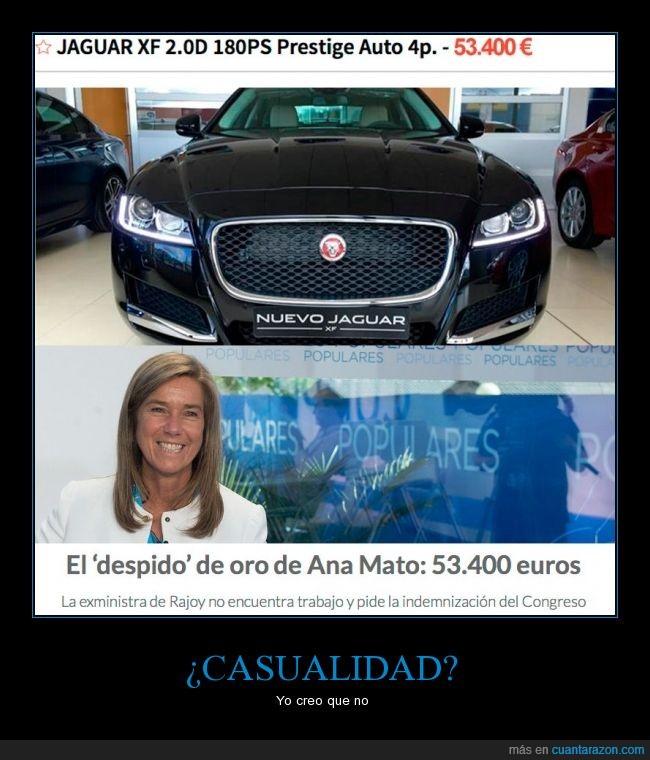53400 euros,Ana Mato,coche,despido,jaguar,ministra,mismo,precio,Rajoy