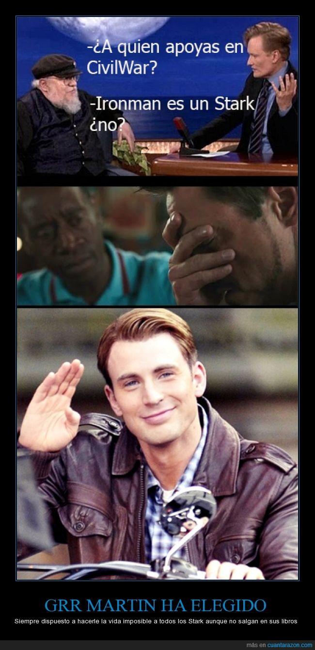 Capitán América,Civil war,Iron man,Juego de Tronos,Marvel,RR Martin