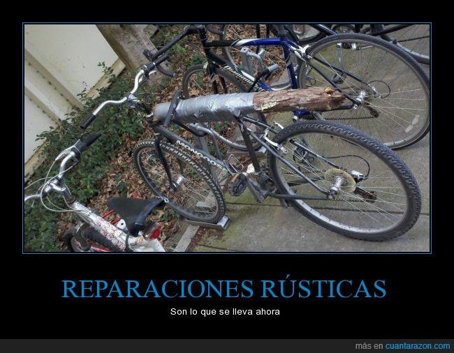 apaño,arreglar,arreglo,bici,bicicleta,candado,cinta aislante,rama,tronco