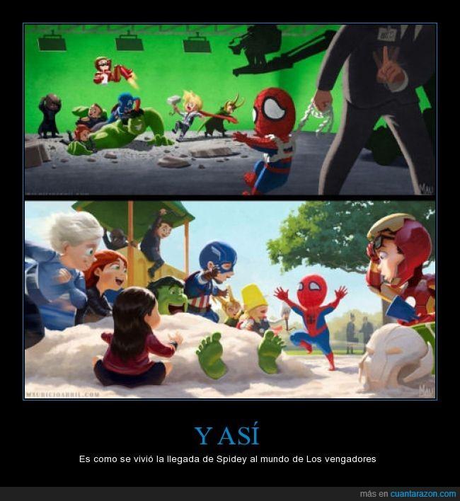 civil war,felicidad,hulk,iron man,jugar,loki,Los vengadores,niños,parque,película,quicksilver,spiderman,thor