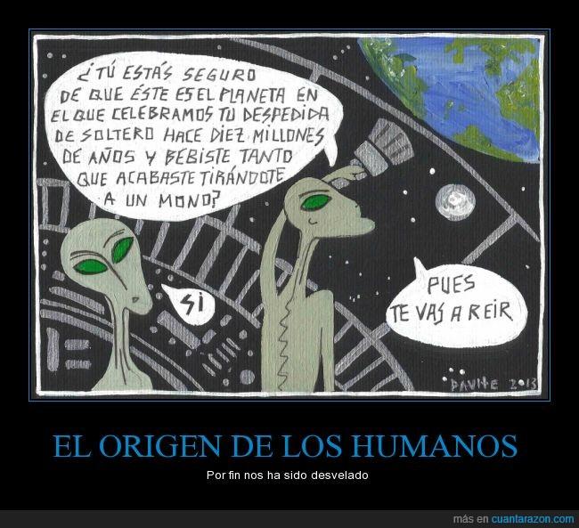 alien,alienigena,beber,despedida,extraterrestre,humano,La Tierra,mono,soltero,tirar