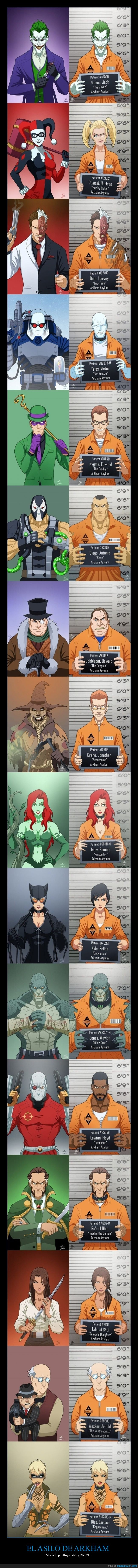 arkham asylum,batman,guason,harley queen,joker,verdaderos nombres,villanos