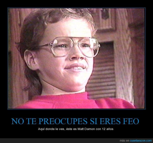 80s,feo,gafas,joven,Matt Damon,niño,pintas,retro
