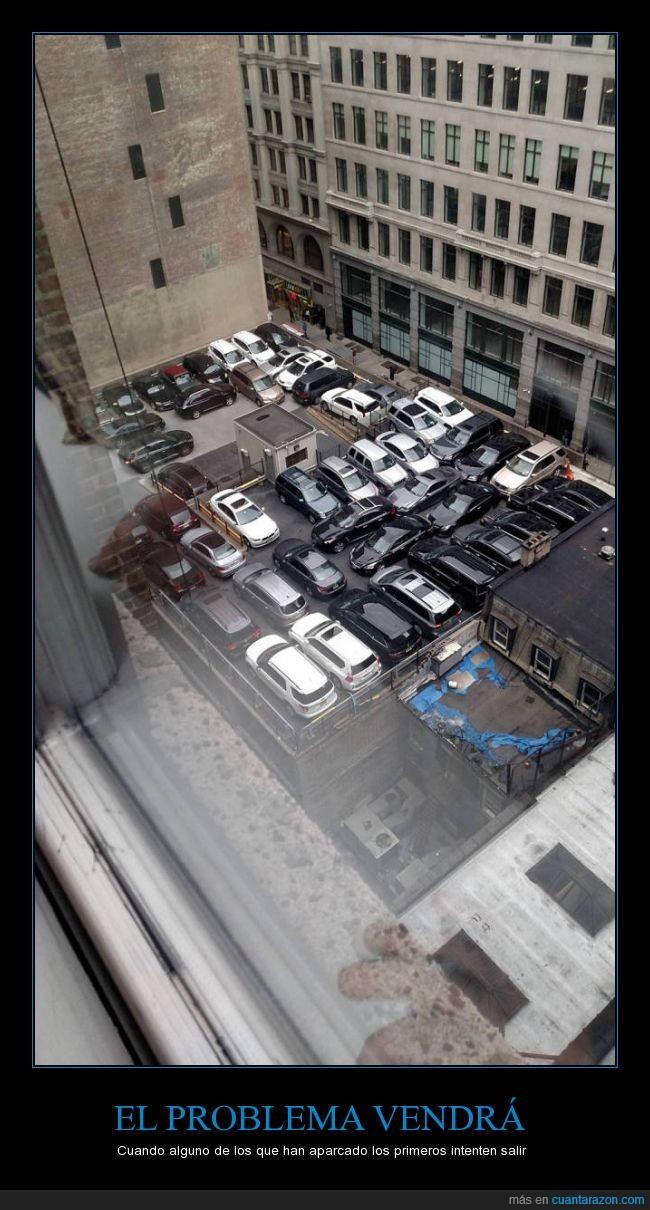 aparcamiento,aparcar,coche,juego,lleno,problema,salir