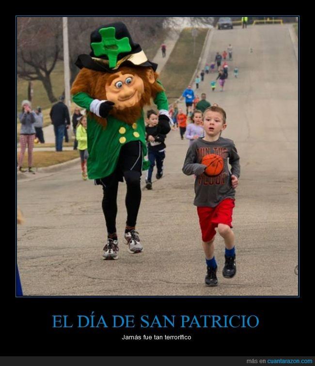 carrera,chico,correr,disfraz,disfrazado,hombre,leprechaun,miedo,niño,san patricio