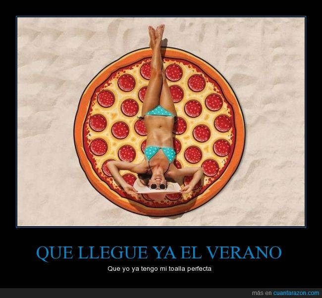 amores,pizza,playa,toalla,unir