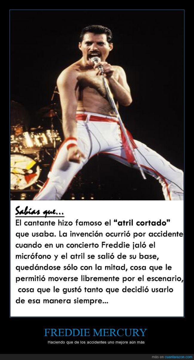 accidente,atril cortado,curiosidad,Freddie Mercury,micro,palo